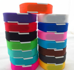 Wholesale-200pcs lot Mix 14colours Sports led Digital Display touch screen watches Rubber belt silicone bracelets Wrist watches LT012