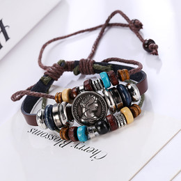 Fashion Men and Women Leather Wrap Bracelet Genuine Handmade Alloy Charms Skull Design Bracelets Wristbands mixed style Free Shipping