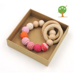 Organic nursing toy baby rattle beech wooden teething toy ring fade pink color 15mm baby girl rattle toddler ET25