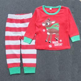 Wholesale Christmas pajamas Baby girl T Pant Sleepwear Long Sleeve Cute Red outfits reindeer Nightwear Children Christmas Clothing set free express