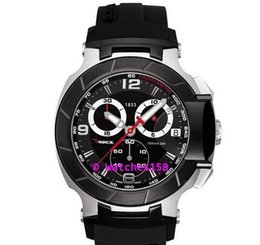 Wholesale Men s T048 Quartz Watch T048 Sport Black Dial Black Silicone Band CHRONOGRAPH T0484172705700