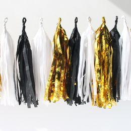 Wholesale Bright Idea pc White Black Gold Set Stunning Handmade Tissue Paper Tassel Garland Tissue Paper Fringe Bunting Diy Garland