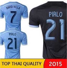 Wholesale 2015 New York City FC Soccer Jersey DAVID VILLA PIRLO LAMPARD soccer NYCFC home away black blue city of New York Jersey