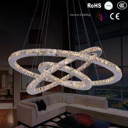 Wholesale New high power led Pendant Lights led lamps led lustre K9 Crystal Pendant lamps stainless steel Ring Crystal Pendant lampModern brief led cr