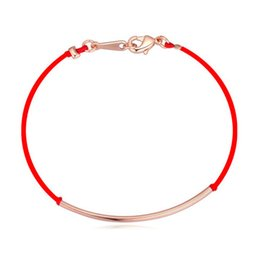 Bracelets Bangles Fashion Women Quality 18K Gold Plated Alloy Bend Red Rope Lucky Bracelets Jewelry Drop Shipping Wholesale TBR029