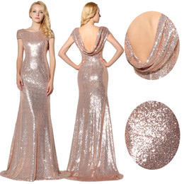 Wholesale In Stock Sparkly Rose Gold Sequins Bridesmaid Dresses Jewel Short Sleeves Maid Of Honor Bling Bling Prom Dress Evening Gowns SD347