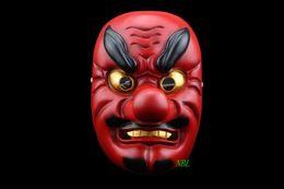 Net Popular Red Dog Resin Mask Japanese Noh Tengu Mask Red Long Nose Buddhist Prajna Samurai Devil Masks Halloween Party Props Free Shipping