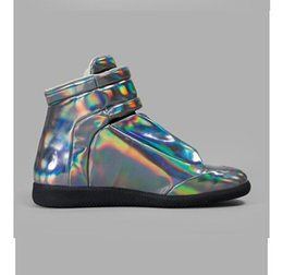 Wholesale new maison martin margiela silver patent leather Fashion Symphony casual shoes Drop shipping good quality