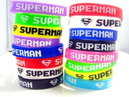 Brand New 50pcs mixed colors super man S multicolor silicone jewelry band wristbands bracelets wholesale lots