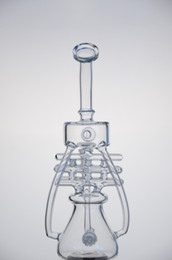 Wholesale CCG upgraded New arrival glass water pipes glass bongs Violet Recycler with double tyre perc mm female joint