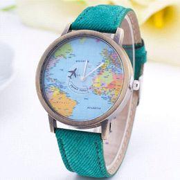 Wholesale 2015 New Fashion Casual Watch Women Wristwatch Personality World Map Airplane Pattern Fabric Leather Quartz Watch Relogio Clock