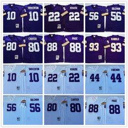 Wholesale Throwback Fran Tarkenton Paul Krause Chuck Foreman Chris Doleman Cris Carter Alan Page John Randle White Purple Vikings Jerseys