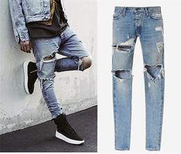 Wholesale Famous Brand Designer Justin Bieber jeans for men Fear Of God Ripped Jeans Blue Rock Star Mens Jumpsuit Designer Denim Jeans Male Pants