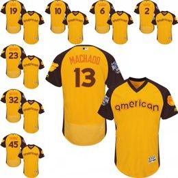 Wholesale Men s American League gold All Star Game Baltimore Orioles Manny Machado Adam Jones Chris Davis Jersey size S XL