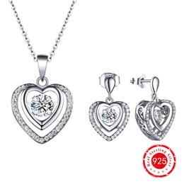 Wholesale Dancing Diamond Silver Double Heart CZ Earrings Silver Pendant Jewelry Set for Women Anniversary Party Bridesmaid GiftDE65410C DP7461C
