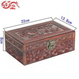 Wholesale Treasure house mahogany water lines jewelry box wood carved jewelry ring jewelry crafts Home Furnishing new special offer