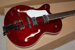 Custom guitar store, OEM handcrafted dark red left handed jumbo hollow body jazz electric guitar,free shipping