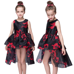 PrettyBaby 2016 summer girls tutu dresses black red flower printed sleeveless girls party dresses free shipping