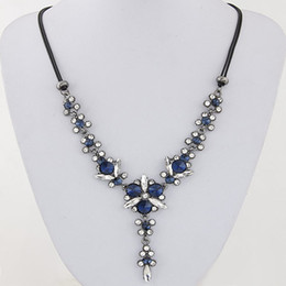 Collier Femme Fashion Rope Cord Statement Necklace Crystal Beads Flower Necklaces & Pendants For Women Accessories Collares