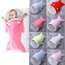 Wholesale 8 colors Cartoon Kids Baby plush Shark Sleeping Bag Newborn Winter Warm Sleeping Bedding g Strollers Bed Swaddle Blanket Wrap Free ship