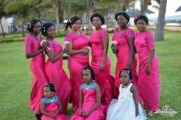 Wholesale Hot Pink Nigerian Arabic Style Mermaid Bridesmaid Dresses Sheer Neck Short Sleeves Lace Plus Size Cheap Wedding Guest Party Gowns