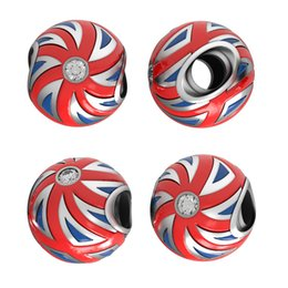 Wholesale Presale UK Flag Bead Made From Sterling Sivler FitS European Bracelet Union Jack Style Jewellery No50 Lw Pr001