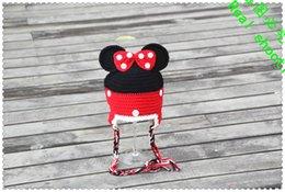 free shipping,Crochet for Children's Cartoon Mickey Minnie Hat,baby Photography prop 100%cotton pink,black with pink bow