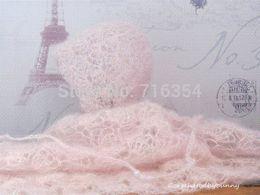 Fashion handmade Newborn pink lacy crochet bonnet and wrap set mohair silk yarn beanie hat baby photo prop photography prop