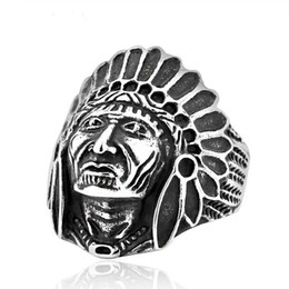 Wholesale NEW hot factory price vintage stylish Stainless Steel Biker Ring with Wide Apache Indian Chief Cast Shield Rin