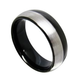 fashion jewelry finger ring 8mm Good quality Domed Black Tungsten Bands for men half brush fashion finger ring