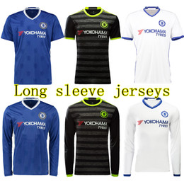 Wholesale Chelsea soccer Jerseys long sleeve home away Thai quality jerseys football shirts HAZARD TERRY FALCAO OSCAR ET