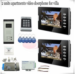 Wholesale For Apartments Access control quot LCD Video Door Phone Doorbell Bell Intercom System Video Camera Electronic lock full kit