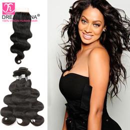 7A Ali Queen 3 BUNDLES BODY WAVE HAIR With Lace Closore Brazillian Hair Brazilian Hair Weave Bundles