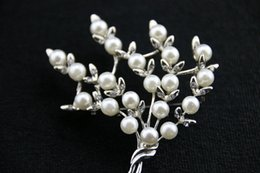 2016 New Fashion Imitation Pearls Broocheswith Crystal Big Size Tree Style Brooches and Pins