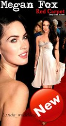 Free Shipping High Quality Megan Fox Red Carpet Inspired Evening Dress New Short Pleating Beaded Formal Celebrity Party Dress