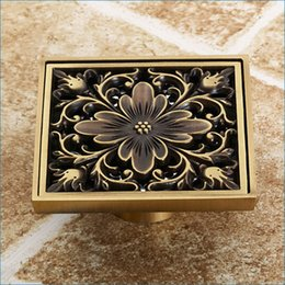 Wholesale Antique brass floor drain odor bathroom square shower drainer Art Carved Floor Drain covers J14263
