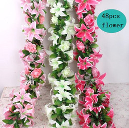 Wholesale 2pcs quot Heads Artificial Lily Rose Flower Ivy Garland Silk Vine Greenery For Wedding Home Decorative
