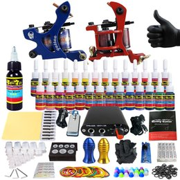 Wholesale SolongTattoo New Beginner Pro Machine Guns Tattoo Kit Power Supply Needle Grips tip color ink set TK204