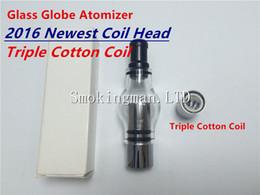 Triple Coils Glass Globe Atomizer Pyrex Glass Tank Triple Cotton Coil Replacment Core Head for Wax Cannon Vase Atomizer VS Skillet v2 tank