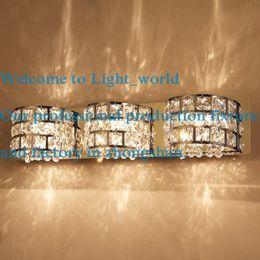 Wholesale Morden Crystal Chrome Bathroom Wall Light Mirror Front wall lamp Corridor Cabinet wall lightight fixtures Silver Chrome washroom wall Lights