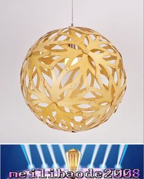 Wholesale DIY Nordic Bamboo Coral Creative Personality Dia40 CM Wood Shade Chandelier Lights For Restaurants Bedroom MYY