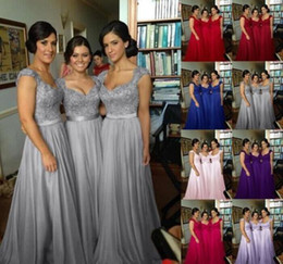 Capped Sweetheart Lace Chiffon Bridesmaid Dress 2018 Floor Length Formal Gowns Lace Up Back Custom Made