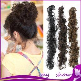 Descuento cortes de pelo rizado corto para las mujeres Al por mayor 5-Colors pelo rizado Bun moños de las mujeres Herramientas de peluquería de la alta calidad del bollo postizo Señora cortes de pelo corto del pelo Piezas Bun