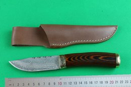 Wholesale Coolest Damascus Knife - EMS Shipping New Damascus Fix blade hunting knife 57HRC Shadow wood handle Survial straight knife with leather sheath Cool knives