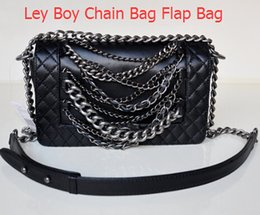 Wholesale Lace Bag Ribbon - 67919 Black Lambskin Classical LE BOY Genuine Leather 25CM Women Messenger Bag Casual Cowhide Leather Shoulder Bag 67919