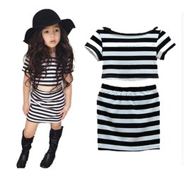 PrettyBaby summer baby girls striped set short sleeve striped t shirt a line skirt Summer Clothing Set