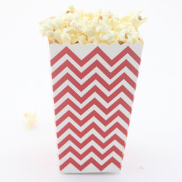 Free shipping!!! Wholesale 120pcs lot popcorn bags colorful chevron paper box for wedding party baby shower decoration