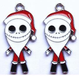 New 50 Pcs Christmas The Nightmare Before Christmas Jack Metal Charm Pendants Jewelry Making Toy Hot!