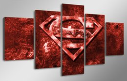 Wholesale 5 Panel With Framed Printed Movie Superman Art Painting children s room decor print poster picture canvas