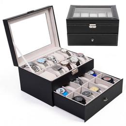 Wholesale 20 Slot Watch Box Leather Display Case Organizer Top Glass Jewelry Storage Black
